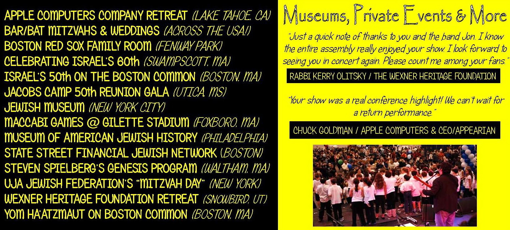 Gig Type Template - MUSEUMS & PRIVATE EVENTS